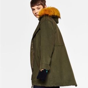 NWT Zara Parka with Removable faux fur hood